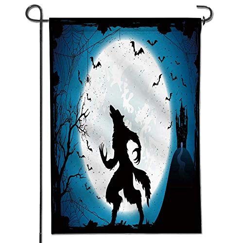 Jiahonghome Seasonal Garden Flag Dark Halloween with Moon on Blue Sky Castle and Werewolf Spiders and Flying Bats Double Sided Weatherproof Flags24 x 36