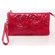 SAIERLONG® Womens Embossing Rose Red Fashion Soft Leather Wallets