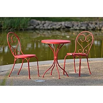 Amazon.com : Mainstays 3-piece Small Space Scroll Outdoor Red Bistro ...