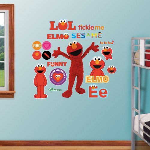 FATHEAD Elmo-Life-Size OfficiallyLicensed Sesame Street Removable Wall Decal,