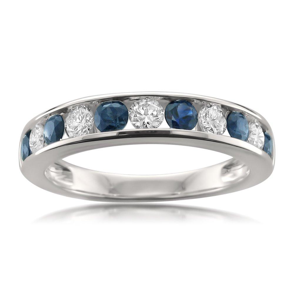 14k White Gold Round Diamond & Blue Sapphire Wedding Band Ring (1 cttw, I-J, I1-I2), Size 5.5