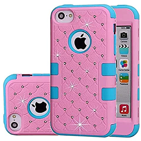 iphone 5C Case,Auker Heavy Duty Dual Layer Bling Mermaids Scales Shockproof Impact Resistant Non Slip PC Rubber Hybrid Protective Tough Silicon Bumper Case Cover for iphone 5C for Women/Men (Pink Iphone 5c Phone Case)