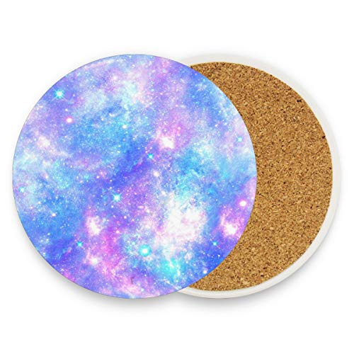 Pink And Blue Magical Galaxy Star Coasters, Protection for Granite, Glass, Soapstone, Sandstone, Marble, Stone Table - Perfect Wood Coasters,Round Cup Mat Pad for Home, Kitchen or Bar Set of 4 ()