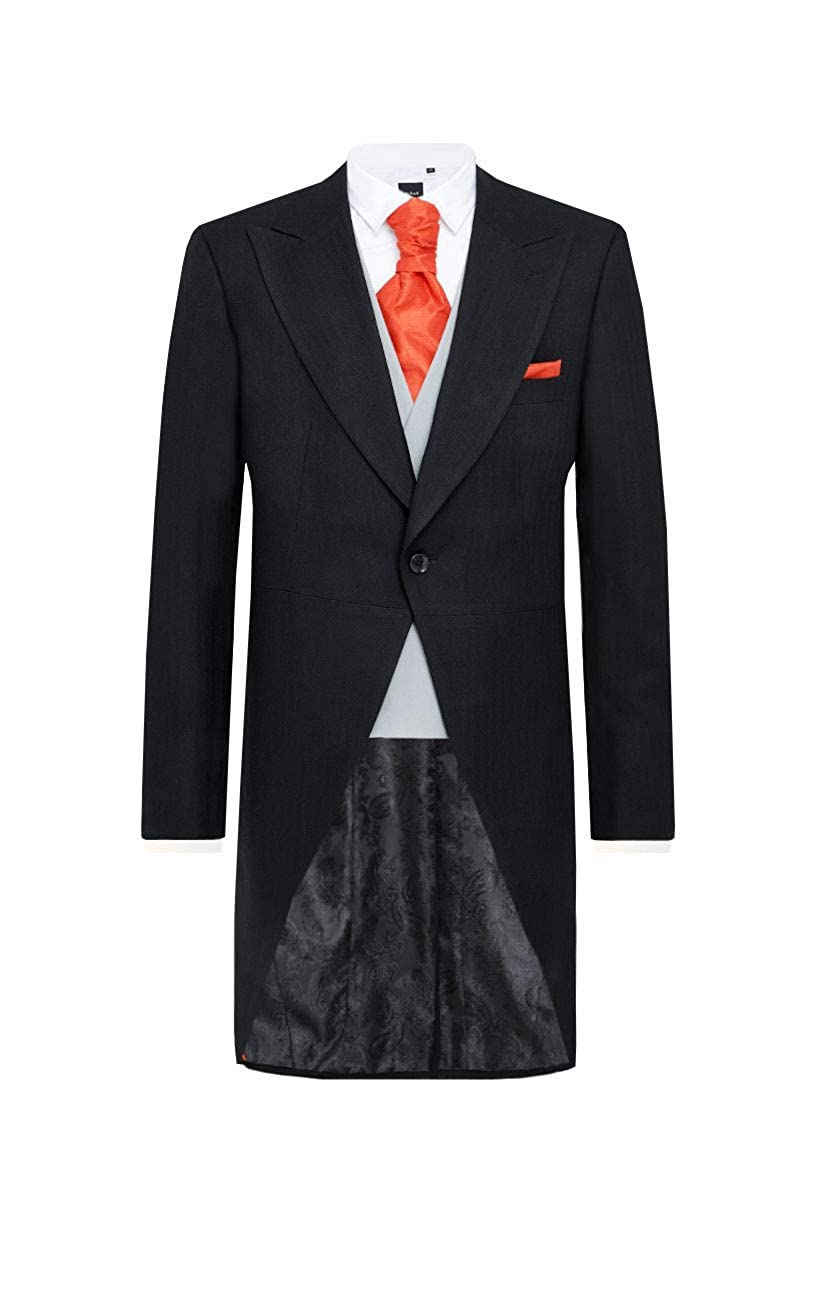 BLACK TAILCOAT EX HIRE WOOL HERRINGBONE ASCOT MENS WEDDING MORNING DRESS TAILS