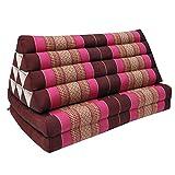 Thai cushion + mattress - Coussin Thailandais triangle XXL avec assise 2 plis, détente, matelas, kapok, fauteuil, canapé, jardin, plage Bordeaux/Pink (81417)