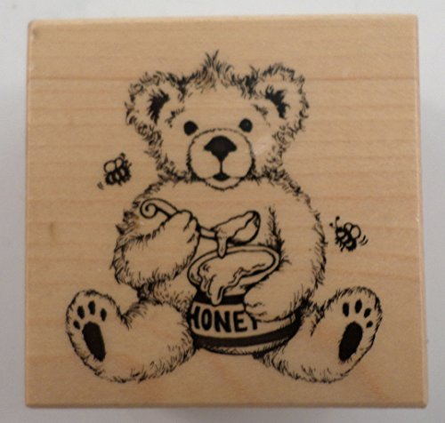 Psx E-1972 Teddy Bear With Flying Bees And Honey Wooden Rubber Stamp