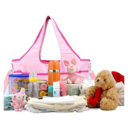 Multifuncional Bolsa de Cambiador Pañales de Bebé Totalizador de Momia Bolsa de Hombro (azul) rosa