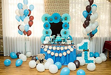 Leowefowa 1st Birthday Decorations Interior Backdrop 5x4ft Photography Backgroud Blue Paperflower Cake Table White Curtains Balloons