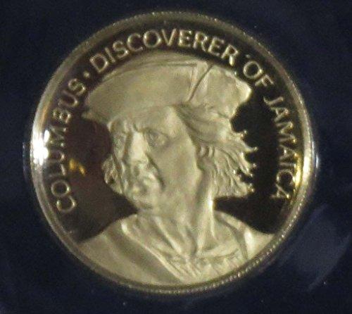 1975 Jm Jamaica Columbus Commemorative Gold Proof  100 Uncirculated