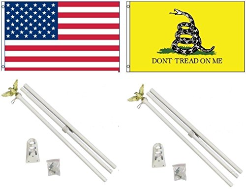 ALBATROS 3 ft x 5 ft USA American with Gadsden White Snake Flag with White with Pole Kit Set for Home and Parades, Official Party, All Weather Indoors Outdoors