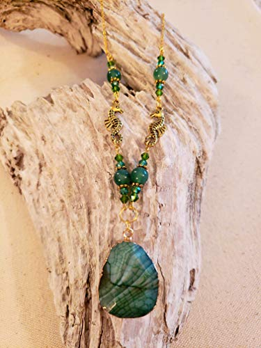 Green Veins Agate - Green Dragon's Vein Agate Pendant Necklace