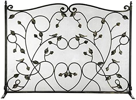 フォージドアイアンシングルパネル暖炉スクリーン、ホーム、装飾スクロールアクセントのための火スパークガード門 - 100X71cm