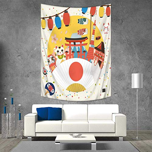 Anhuthree Lantern Wall Tapestry Japanese Inspired Commercial Pattern Various Asian Culture Items Cool Cat Origami Home Decorations Living Room Bedroom 54W x 84L INCH Multicolor