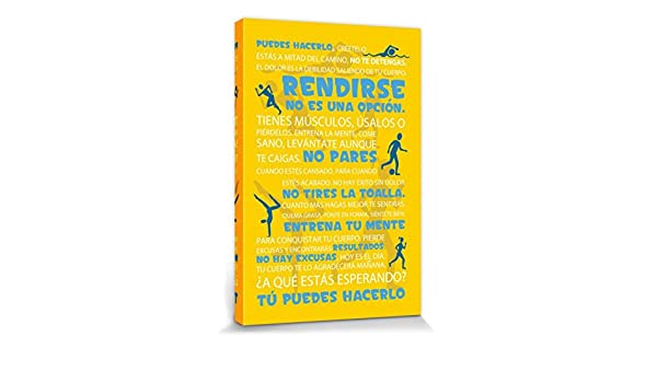 Amazon.com: 1art1 Motivational Stretched Canvas Print - Workout, Tú Puedes Hacerlo, Yellow (47 x 32 inches): Posters & Prints