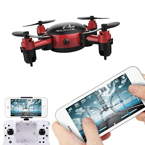 Leegor YL S18 Foldable Camera Drone RC Mini Pocket Wifi Quadcopter 2.4 4CH 6-Axis Gyro 3D UFO FPV (Red) by Leegor