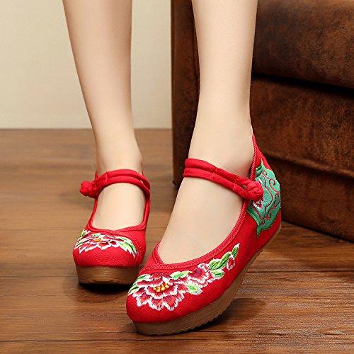 Di Femminili Unico Centimetri Stile Desy Red 5 Scarpe Etnico Moda Biancheria Ricamati Comodi Pattini Tendine Tela qCxwRHP