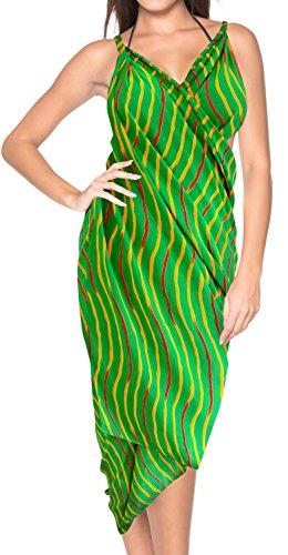LA LEELA Robe de Maillots de Bain Maillot de Bain Beachwear Wrap Bikini Couvrir Bain Jupe Costume chale Vert_h512