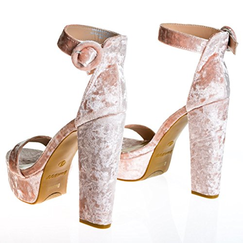 70s Retro Block Heel Platform Dress Sandal w Ankle Strap Blush DFWbgj
