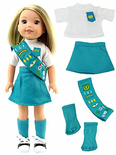 American Fashion World Junior Scout Uniform-Fits 14 Inch Wellie Wisher Dolls | 14 Inch Doll ()