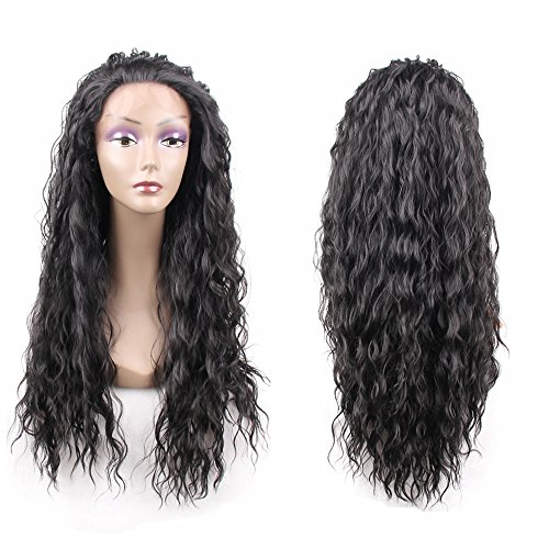 HAIR WAY Synthetic Lace Front Wig Long Natural Wavy Soft Glueless Wigs Heat Resistant Fiber Hair Replacement Wigs for Women Half Hand Tied #1b Color 24inch