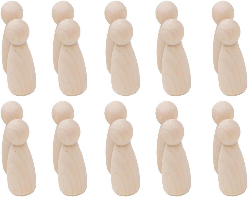 Gazechimp 20x Mini Mu/ñeca de Madera para DIY Bricolaje Pintar Colorear 35 mm Alto Mujer
