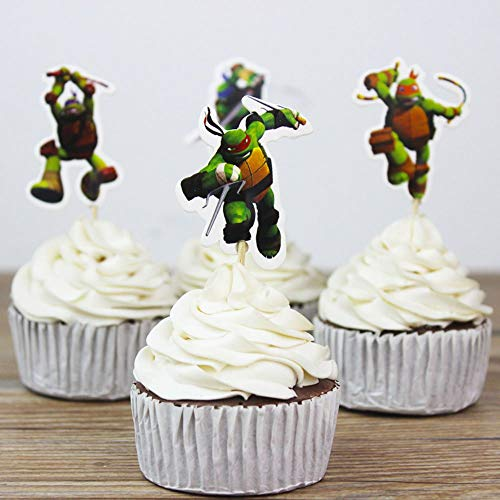 Teenage Mutant Ninja Turtles Cupcakes (Teenage Mutant Ninja Turtles Themed Cupcake Toppers Party Pack for 24)
