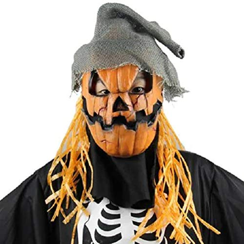 Party Masks - Halloween Scarecrow Party Realistic Creepy Rubber Props Prom Mask Latex Crazy Pumpkin - Adults Gold Lace Wear Glasses Stick Headbands Dinosaur Women Kids Party Superhero Male Pack (Latex Scarecrow Mask)