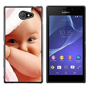 TopCaseStore / la caja del caucho duro de la cubierta de protección de la piel - Cute baby boy - Sony Xperia M2