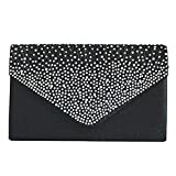 SIMANLI Satin Bling Rhinestone Clutch Shoulder Bag, Clutch Purse Wallet for Women Ladies Girls with Chain, Handbag Evening Bag for Party Wedding Prom Ball (Black)