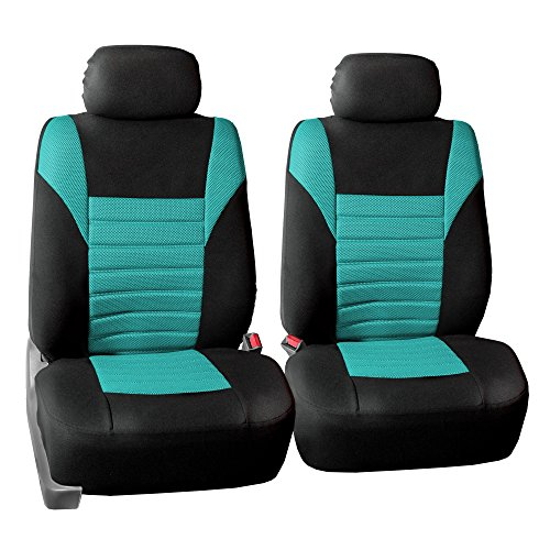 FH GROUP FH-FB068102 Premium 3D Air Mesh Seat Covers Pair Set (Airbag Compatible), Mint / Color Black- Fit Most Car, Truck, Suv, or Van (Honda Green Car)
