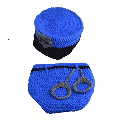 [TorDen Police Knitted Baby Photograph Props Newborn Crochet Costume, Blue] (Cute Police Costumes)