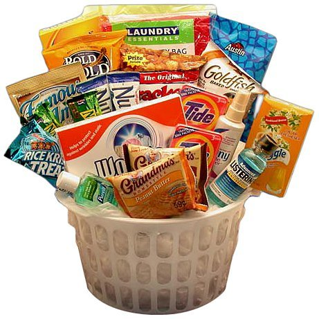 Away From Home Snacks and Essentials Care Package in Mini Laundry Gift Basket