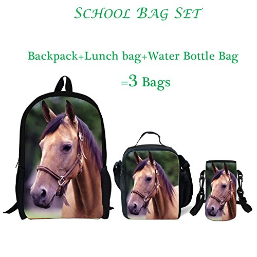 ThiKin 3d Horse Wolf Water Bottle Carrier Lightweight Backpack Large Lunch Bag 3 IN 1 for Kids Boys Girls - Wolf Horse