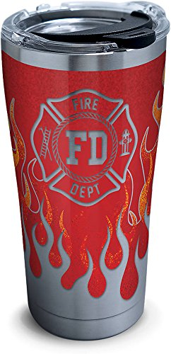 - Tervis 1279996 Firefighter Stainless Steel Tumbler with Clear and Black Hammer Lid 20oz, Silver