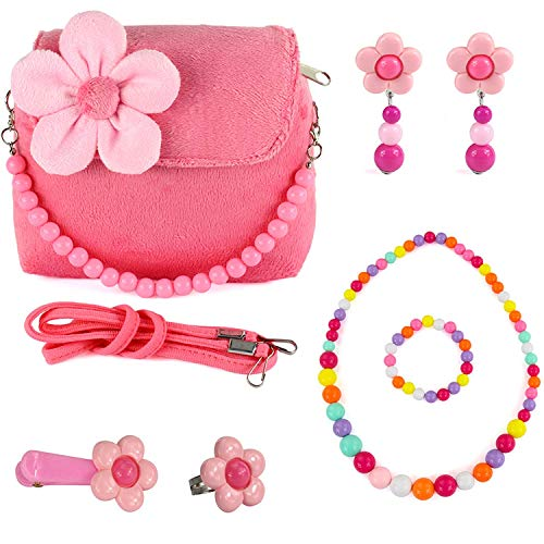 CMK TRENDY KIDS Kids Plush Flower Handbag Set with Hair Clip + Necklace + Bracelet + Earrings + Ring Small Purse for Little Girls and Toddlers (82000_Pink)