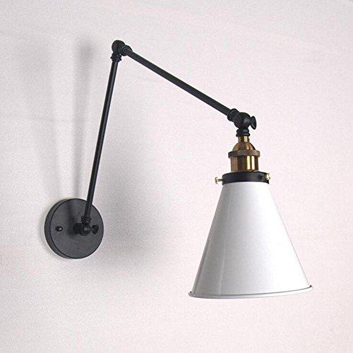 Wandlamp, koper, lange arm, telescoop, industrie, verstelbaar, LED, metaal, E27, lampenkap van ijzer, binnenlamp…