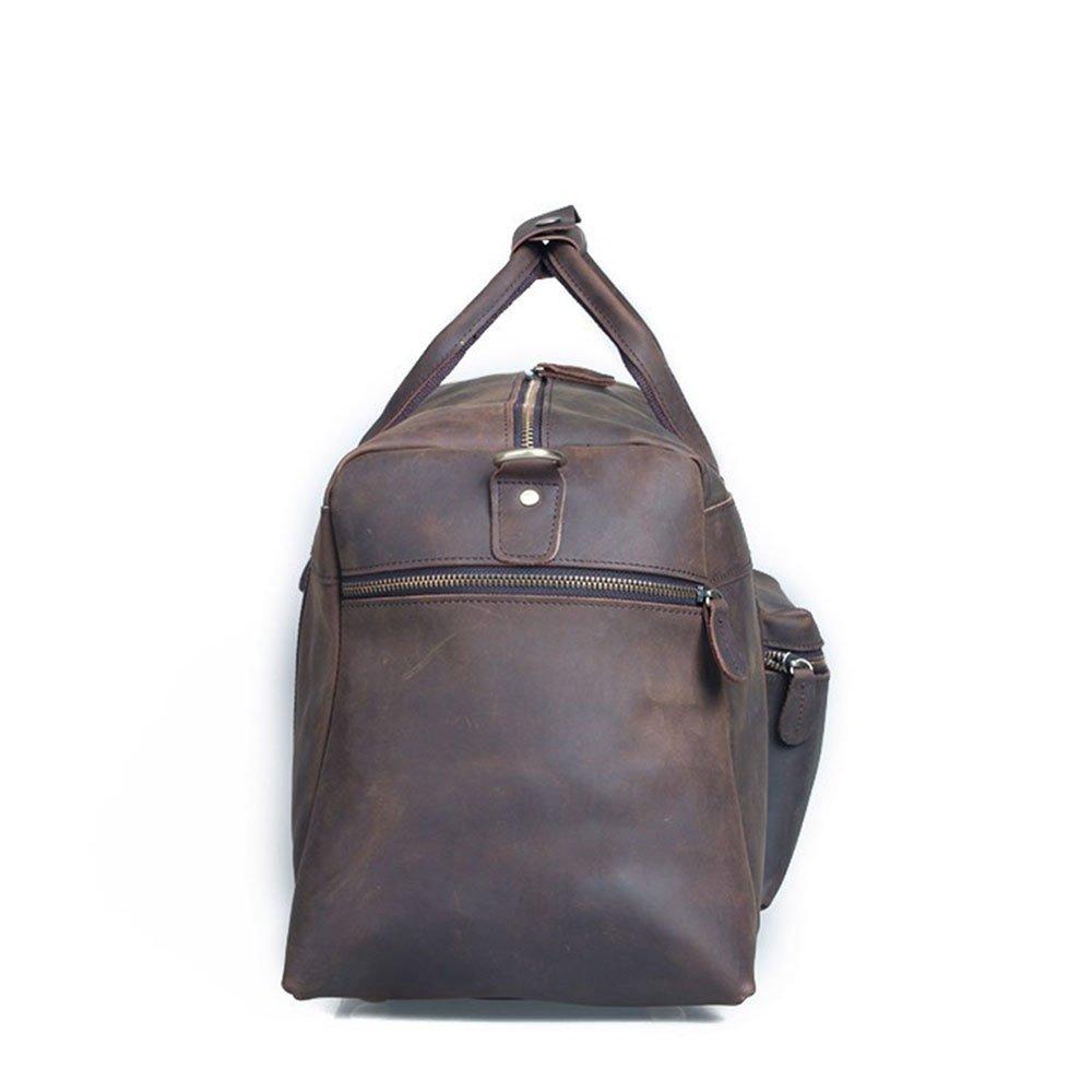 GLJJQMY Vintage Travel Bag Mens Leather Travel Bag Large Capacity Tote Travel Bag 59 X 23 X 30cm Travel Bag