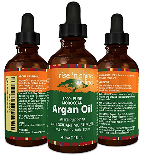 Pure Morocco Argan Oil (4 oz) Best for Hair, Skin, and Nails - 100% All Natural Virgin Moroccan Argan Oil is a Great Shampoo, Conditioner, Hair Spray, Mask and Excellent Hair Growth and Loss Treatment