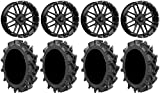 "Bundle - 9 Items: MSA Milled Bandit 20"" UTV Wheels 35"" MotoHavok Tires [4x137 Bolt Pattern 12mmx1.5 Lug Kit]"