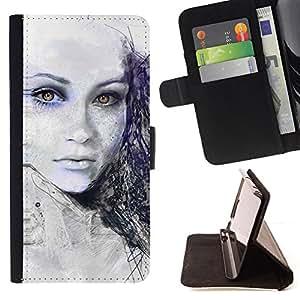 BullDog Case - FOR/Samsung ALPHA G850 / - / Painted Girl /- Monedero de cuero de la PU Llevar cubierta de la caja con el ID Credit Card Slots Flip funda de cuer