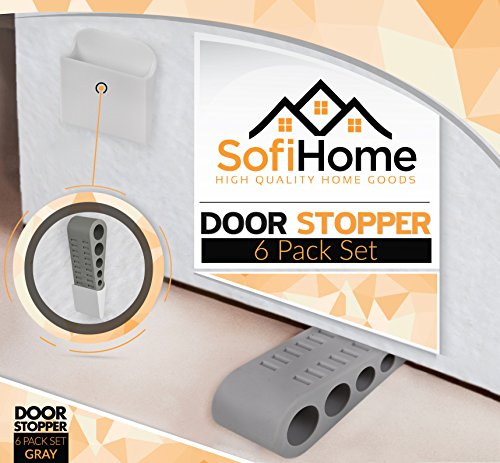 Door Stopper 6 Pack [1.3'' high] - Bonus EBOOK & Holders - SofiHome Premium Heavy Duty Door Stop Rubber Wedge with Decorative Holder - Ideal for Large & Small Door Gaps - The Original (6, Gray) by SofiHome (Image #1)