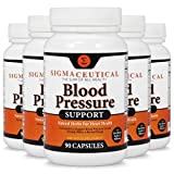 5 Pack of Premium Blood Pressure Support Formula - High Blood Pressure Supplement w/Vitamins, Hawthorn Extract, Olive Leaf, Garlic Extract & Hibiscus Supplement - 90 Capsules Each