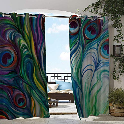 (Linhomedecor Outdoor Waterproof Curtain Abstract Peacock Feather Multicolor doorways Grommet Printed Curtain 108 by 108 inch)