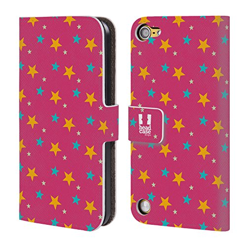 Head Case Cielo Rosa Pattern Di Stelle Cover telefono a portafoglio in pelle per Apple iPod Touch 5G 5th Gen / 6G 6th Gen
