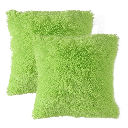 - MIULEE Pack of 2 Luxury Faux Fur Throw Pillow Cover Deluxe Decorative Plush Pillow Case Cushion Cover Shell for Sofa Bedroom Car 18 x 18 Inch Green
