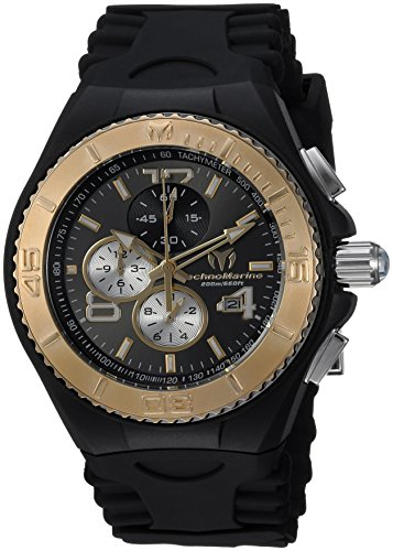 Technomarine Men's 'Cruise' Quartz Stainless Steel and Silicone Casual Watch, Color:Black (Model: TM-115149) (Stainless New Steel Chronograph Technomarine)