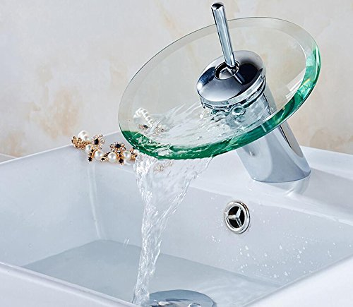 Makej Stock Bathroom Fauce Basin Mixer Tap Waterfall Faucet Sink Vessel Chrome Polished Finish Glass Basin Sink Tap