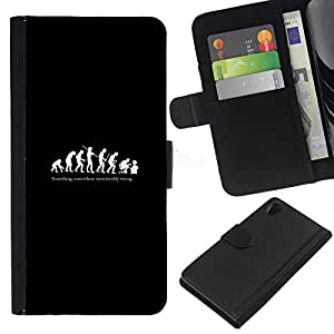 All Phone Most Case / Oferta Especial Cáscara Funda de cuero Monedero Cubierta de proteccion Caso / Wallet Case for Sony Xperia Z2 D6502 // Funny Evolution Of Man