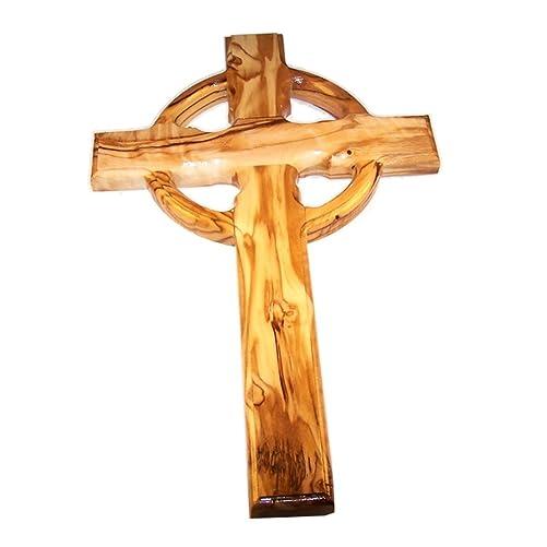 Celtic Holy Land Handmade Wall Olive Wood Catholic Cross – 10 Inches