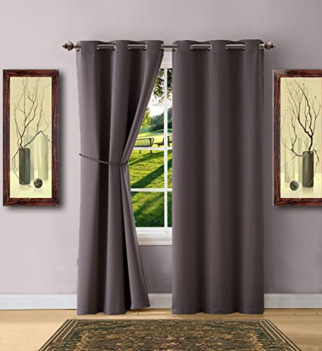 "Warm Home Designs 1 Pair (2 Panels) of Charcoal Blackout Curtains with Grommets. Each of 2 Insulated Thermal Window Panels Is 38"" X 84"" in Size and Includes a Matching Tie-Back. N Charcoal Pair 38x84"